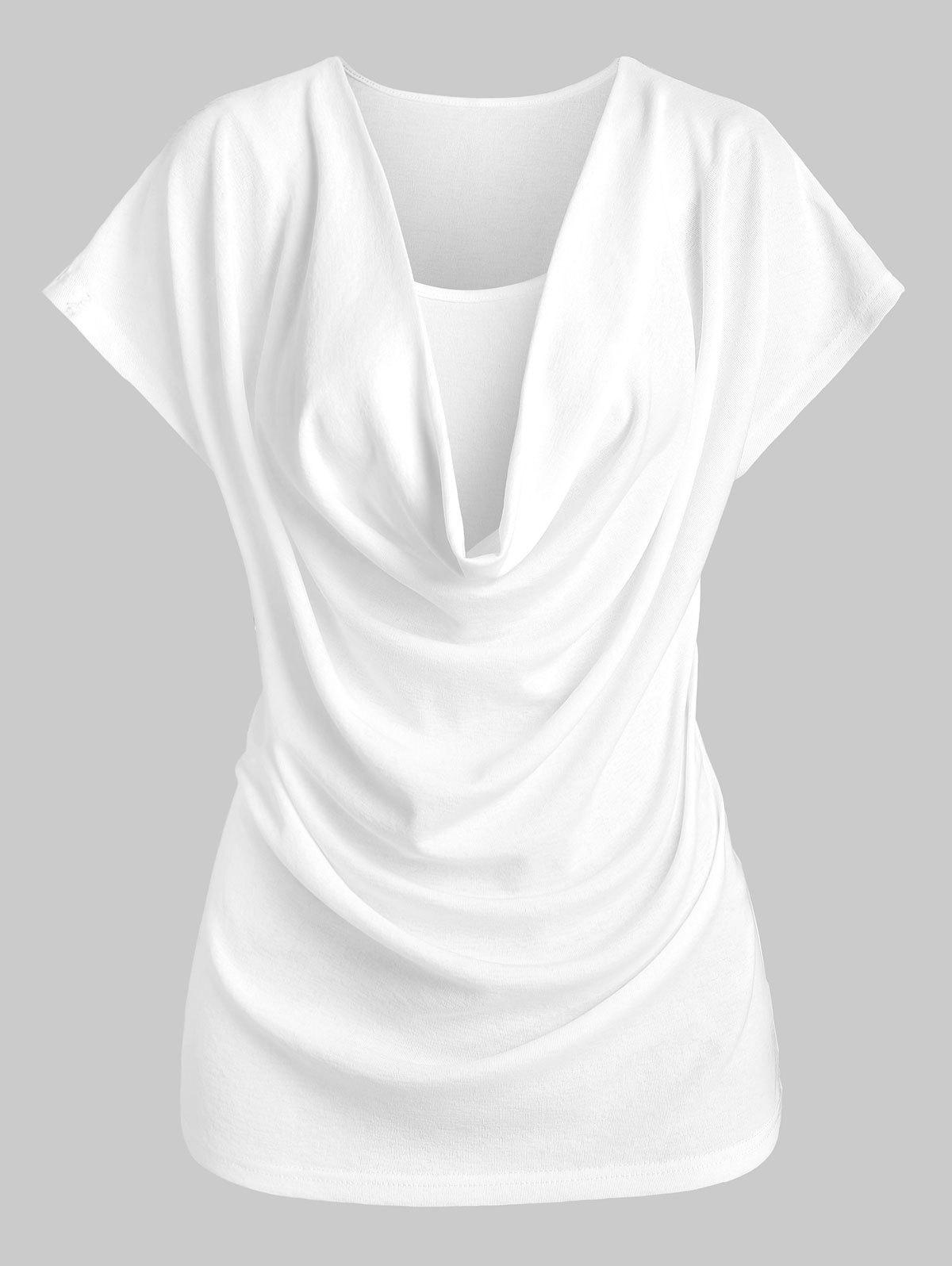 Outfit Cowl Neck Plain T-shirt and Cami Top