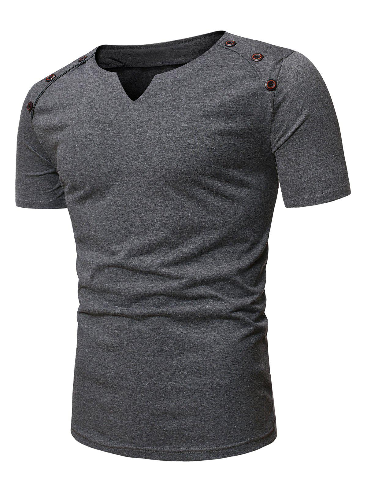 Best Short Sleeves Marled Tee with Buttons
