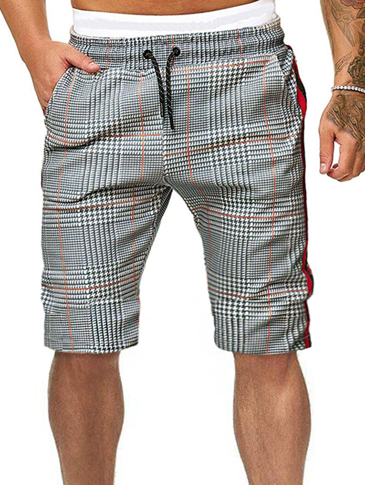 Hot Side Striped Houndstooth Print Drawstring Casual Shorts
