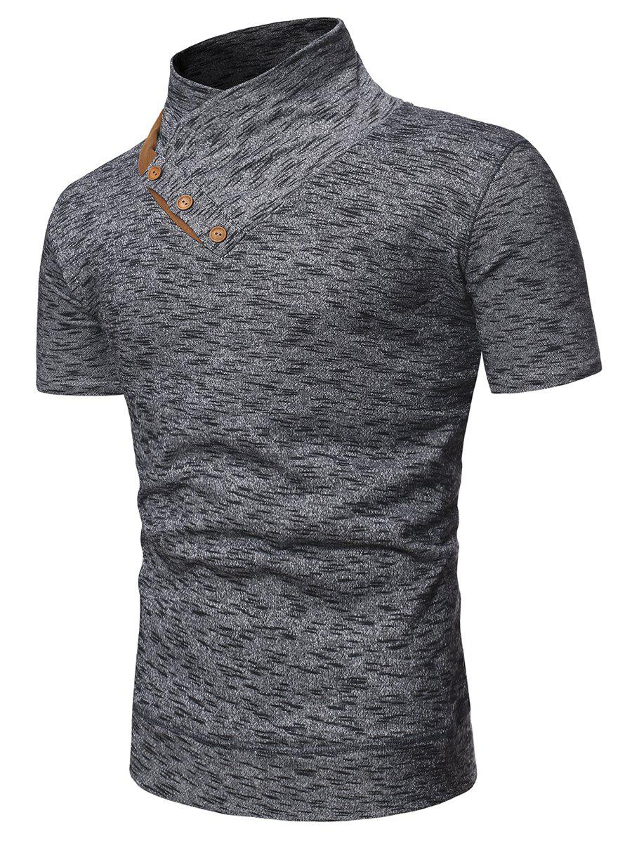 Fashion Shawl Collar Marled Tee with Buttons