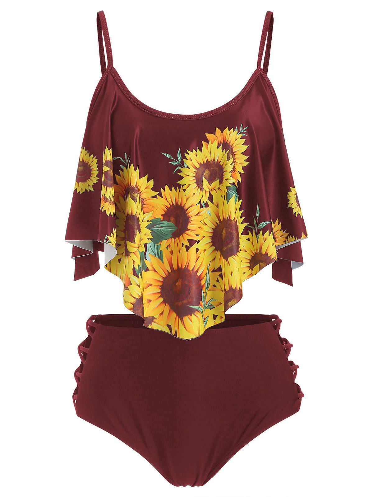 Cheap Sunflower Flounce Lattice Tankini Swimsuit
