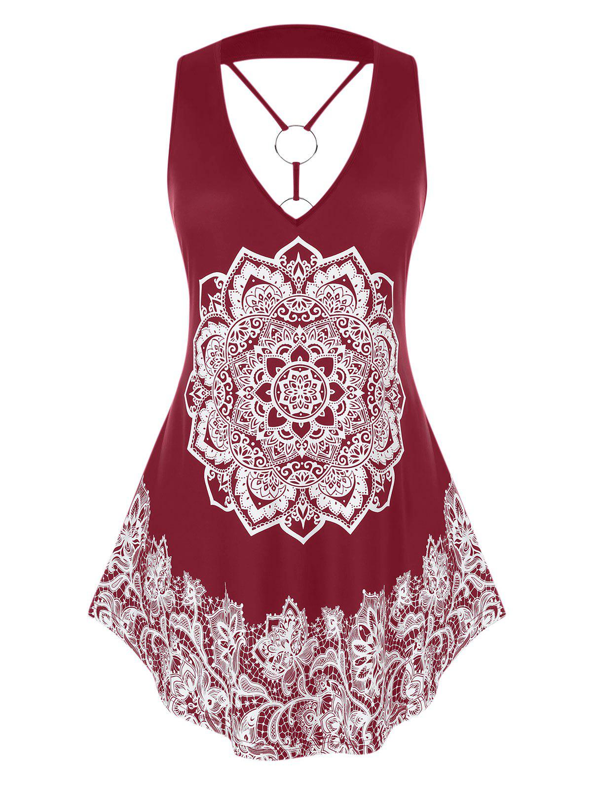Chic Plus Size O Ring Strappy Tribal Print Tank Top