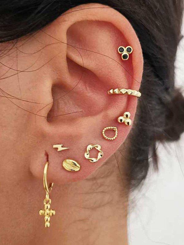 Store Cross Floral Stud And Ear Cuff Earring Set