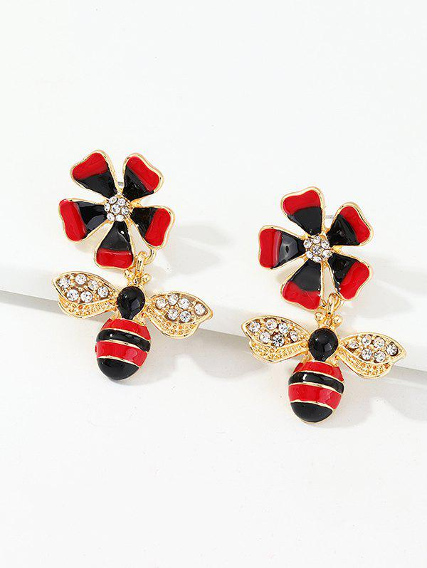 Chic Rhinestone Floral Honey Bee Drop Earrings
