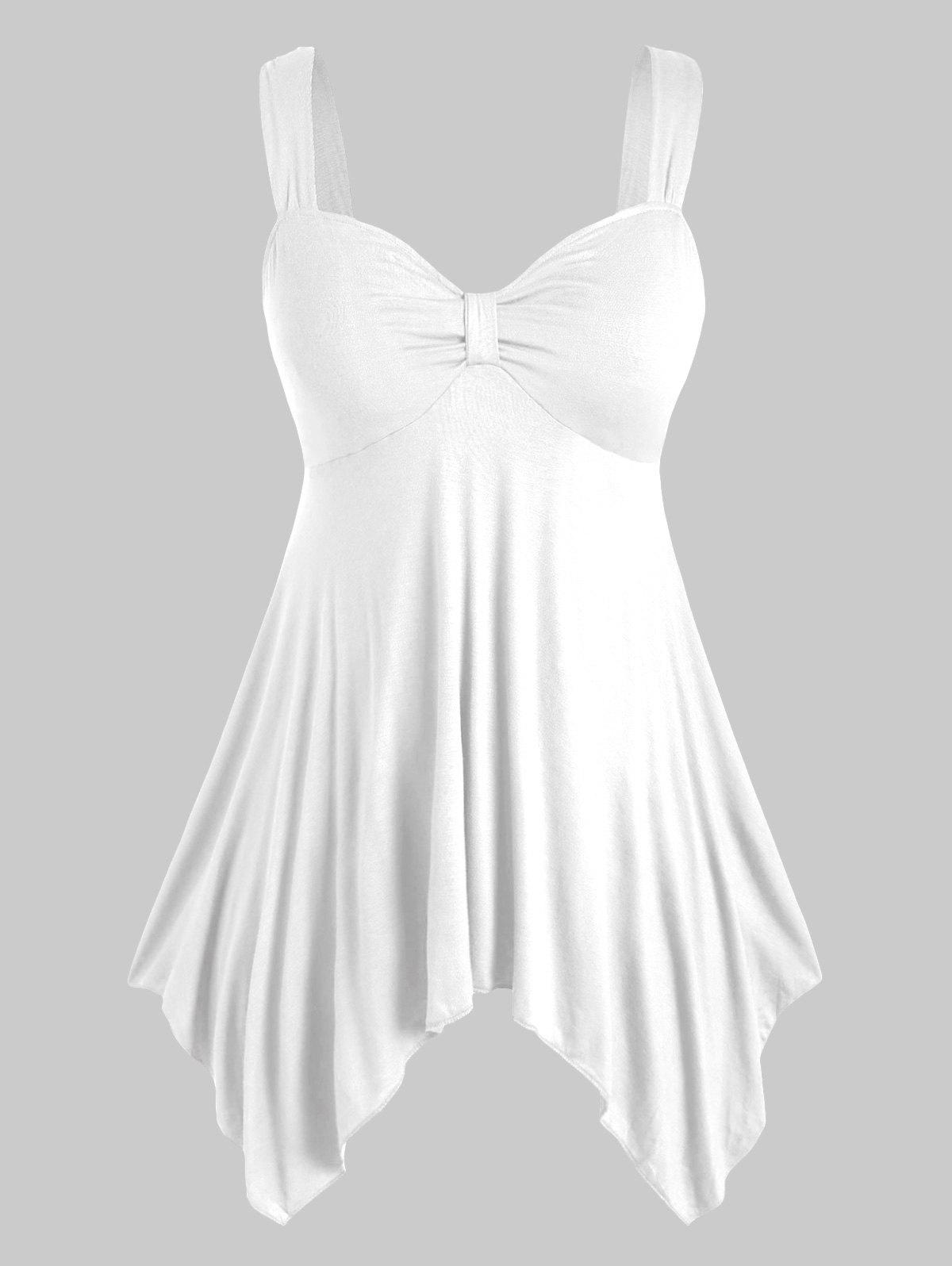 Plus Size Front Knot Handkerchief Tank Top Rosegal