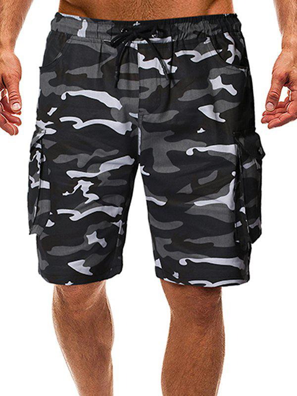 Fancy Drawstring Camo Cargo Shorts with Pockets