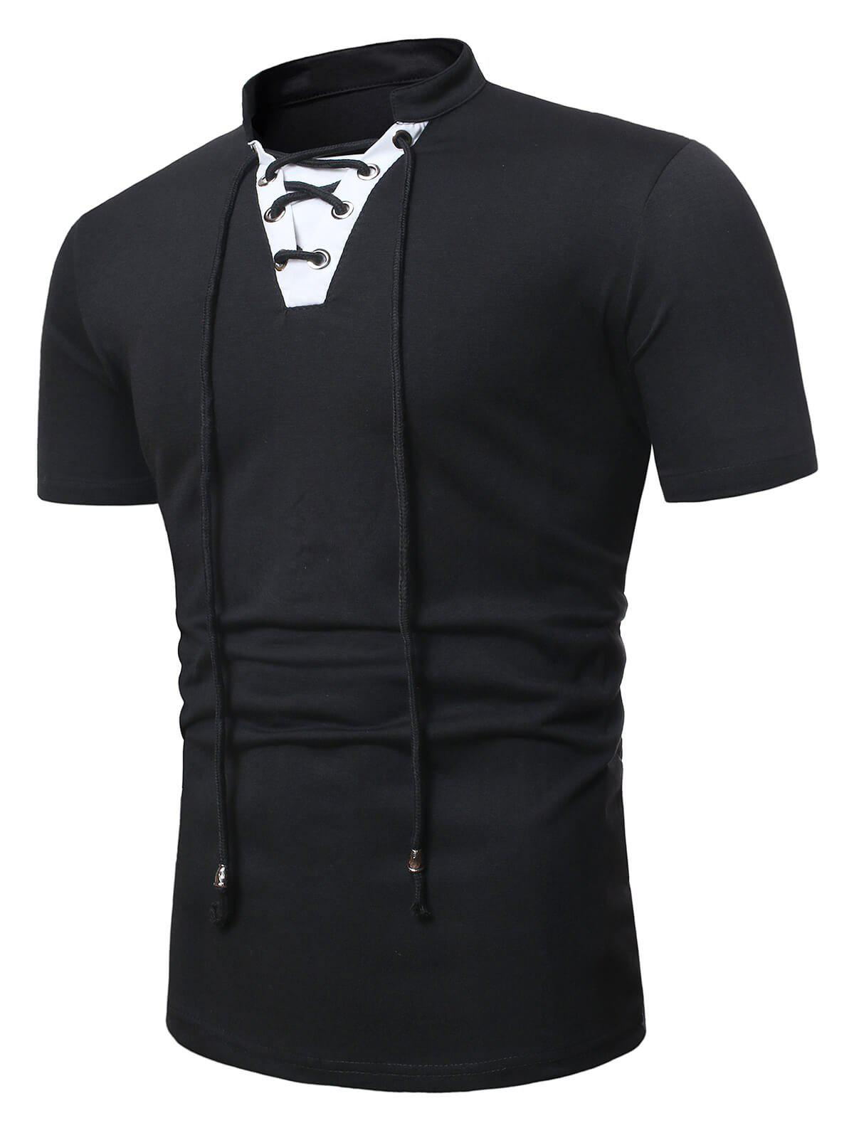 Buy Short Sleeve Lace-up Contrast T-shirt