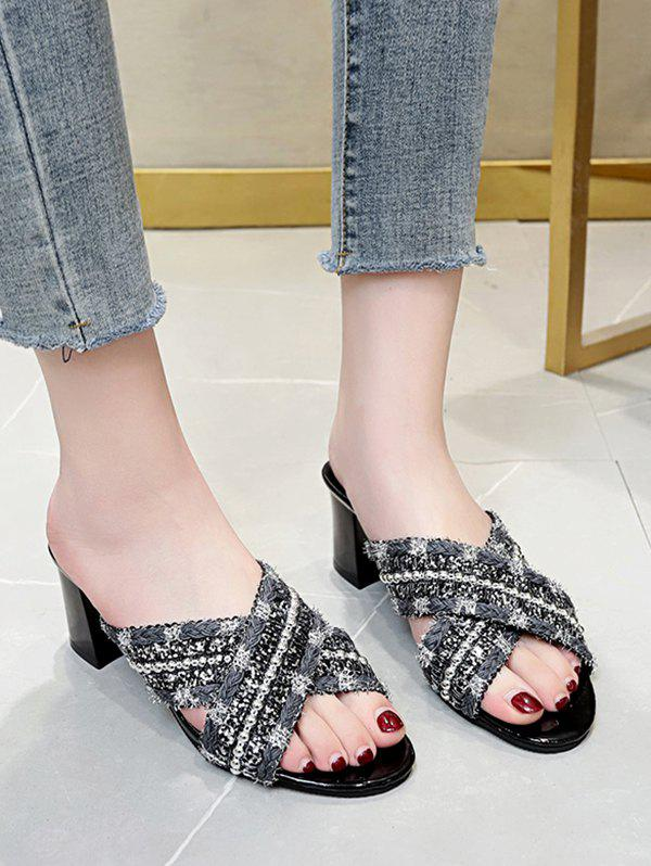 New Criss Cross Beads Chunky Heel Slides Sandals