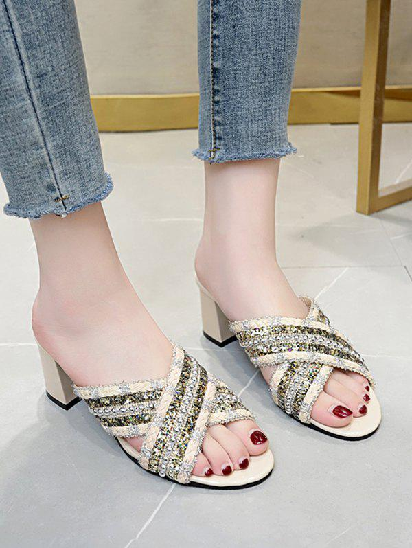 Discount Criss Cross Beads Chunky Heel Slides Sandals