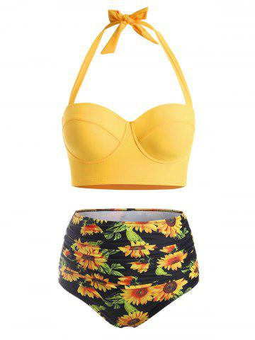 Flower Print Plus Size Halter High Waisted Bikini - BRIGHT YELLOW - L