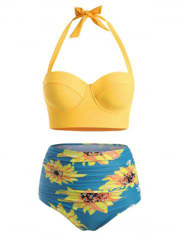 Flower Print Plus Size Halter High Waisted Bikini - SILK BLUE - 3XL