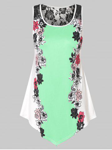 Plus Size Floral Tank Top with Lace - MINT GREEN - 3X