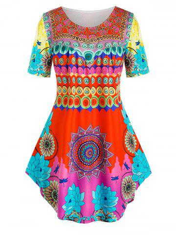 Plus Size Mixed Aztec Print Curved Long Tunic Tee - MULTI - 4X