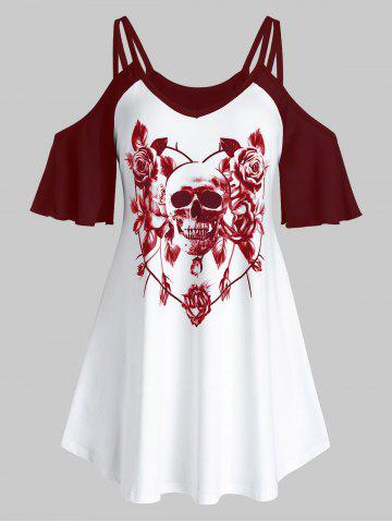 Plus Size Open Shoulder Skull Flower Print Top