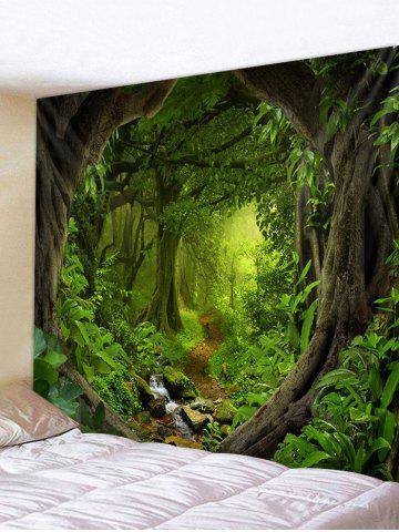 Forest Path 3D Print Wall Tapestry - MEDIUM FOREST GREEN - W91 X L71 INCH