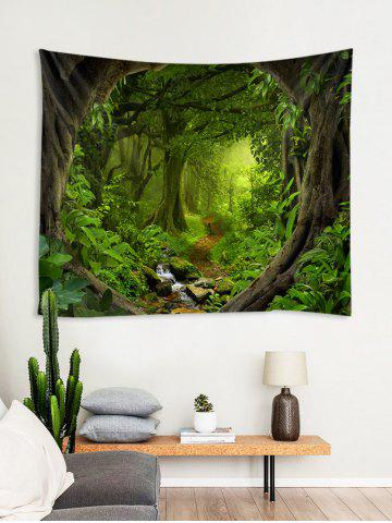 Forest Path 3D Print Wall Tapestry, Medium forest green