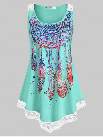 Plus Size Feather Print Lace Insert Tank Top - MACAW BLUE GREEN - 2X
