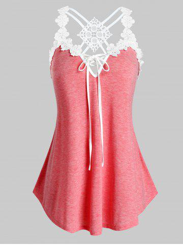 Plus Size Contrast Lace Strappy Tank Top - PINK - L