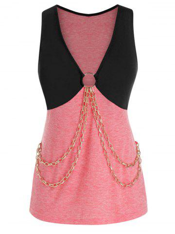 Plus Size Plunge Two Tone Chains Tank Top - PINK ROSE - 3X