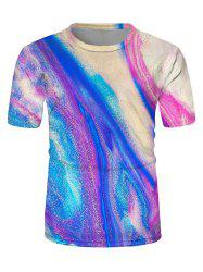 Colorful Drift Sand Print Crew Neck Casual T Shirt -