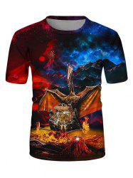 Wings Of Fire Dragon Print Crew Neck Casual T Shirt -