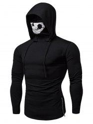 Skull Mask Drawstring Zip Hem Hooded T Shirt -