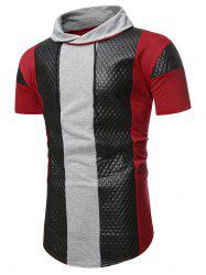 Colorblock Quilted Shawl Collar Short Sleeve T Shirt -