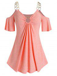 Plus Size O Ring Open Shoulder Chains T Shirt -
