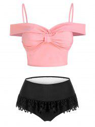 Lace Insert Bow Detail Padded Two Piece Swimsuit -