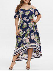 Plus Size Cold Shoulder Flower Print Asymmetric Long Dress -