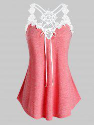 Plus Size Contrast Lace Strappy Tank Top -