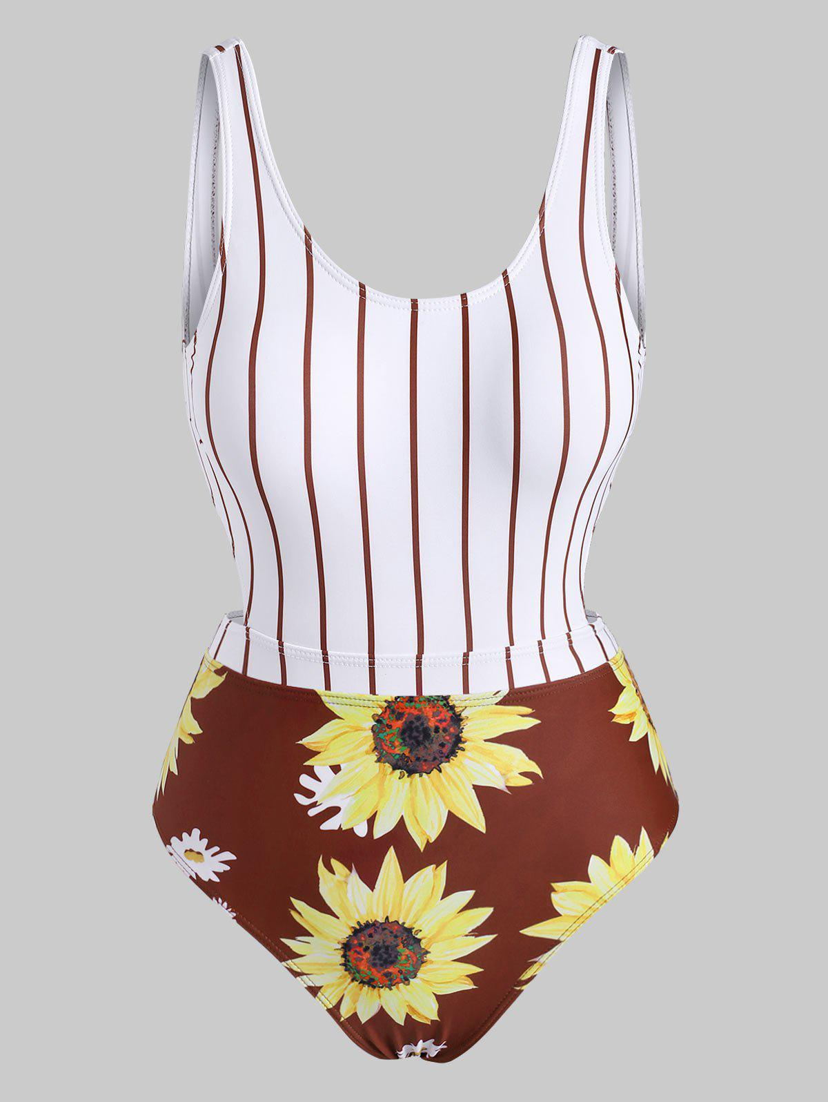 Chic Striped Sunflower Cutout One-piece Swimsuit