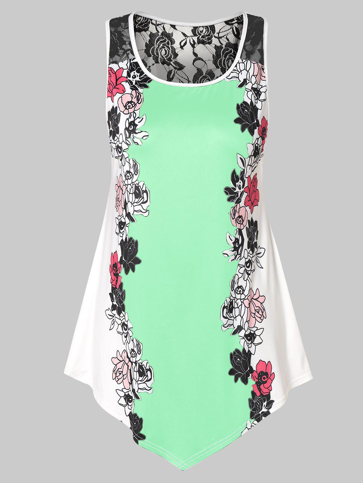 Discount Plus Size Floral Tank Top with Lace