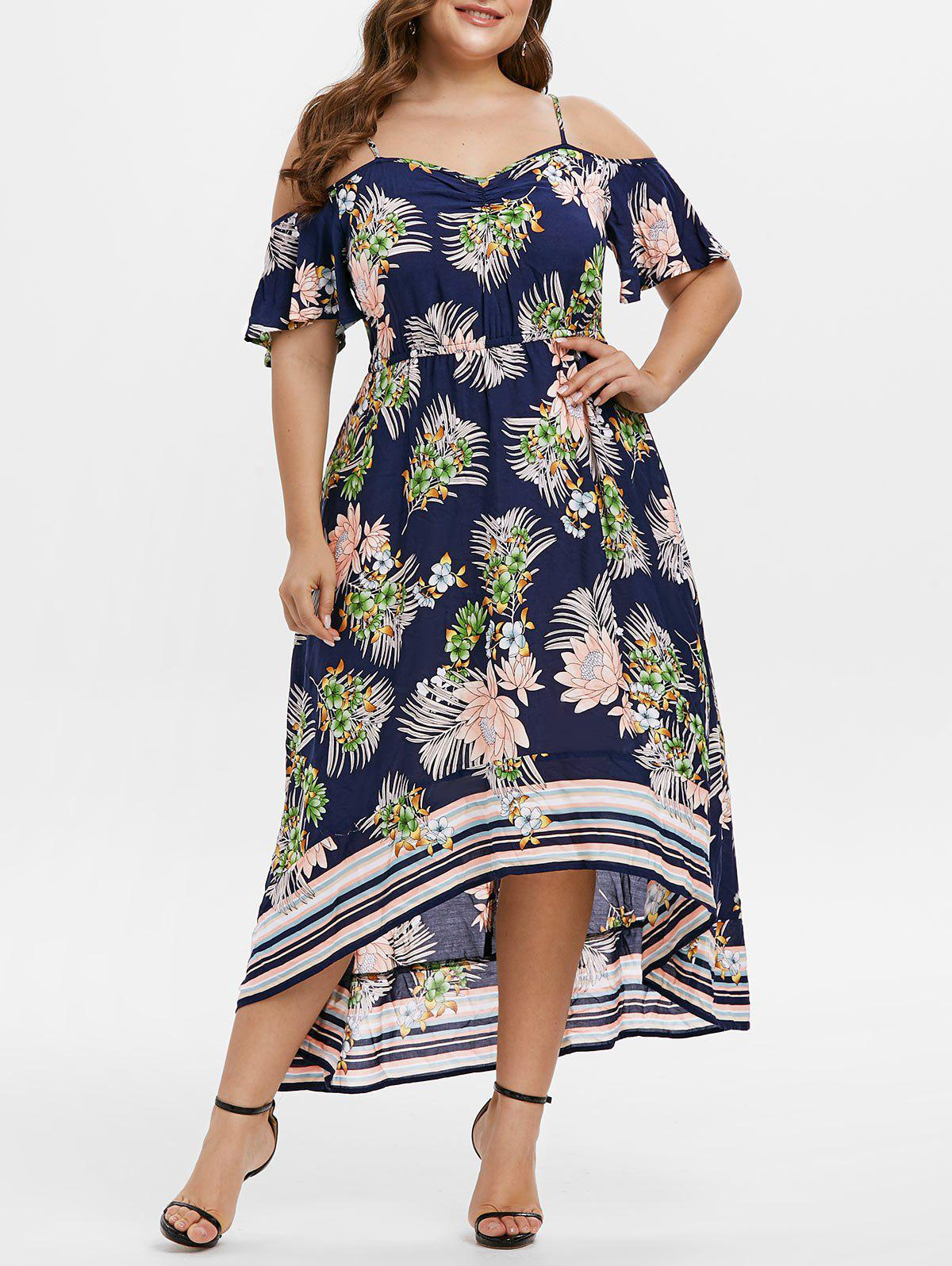 Cheap Plus Size Cold Shoulder Flower Print Asymmetric Long Dress