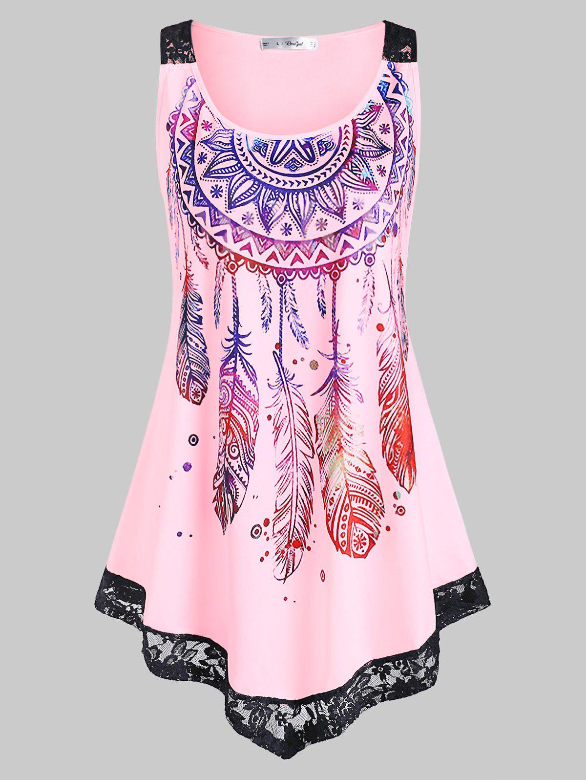 Trendy Plus Size Feather Print Lace Insert Tank Top