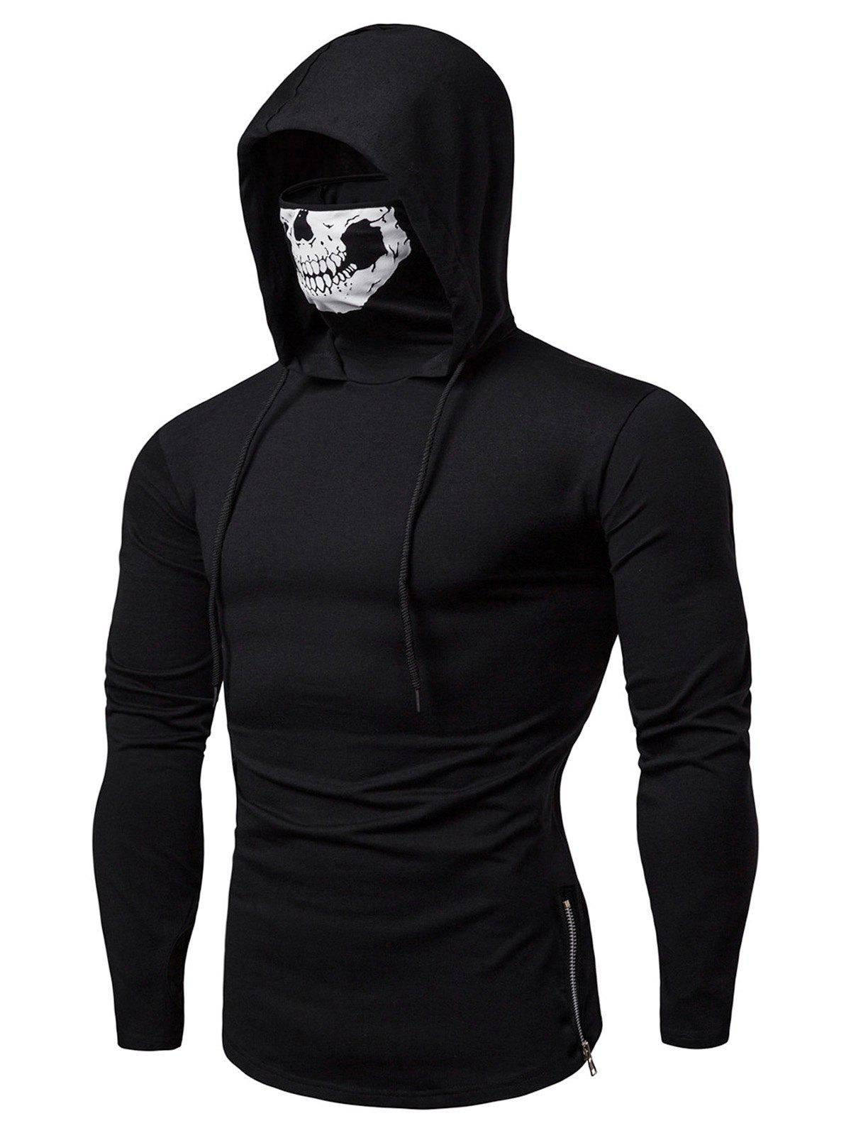 Buy Skull Mask Drawstring Zip Hem Hooded T Shirt