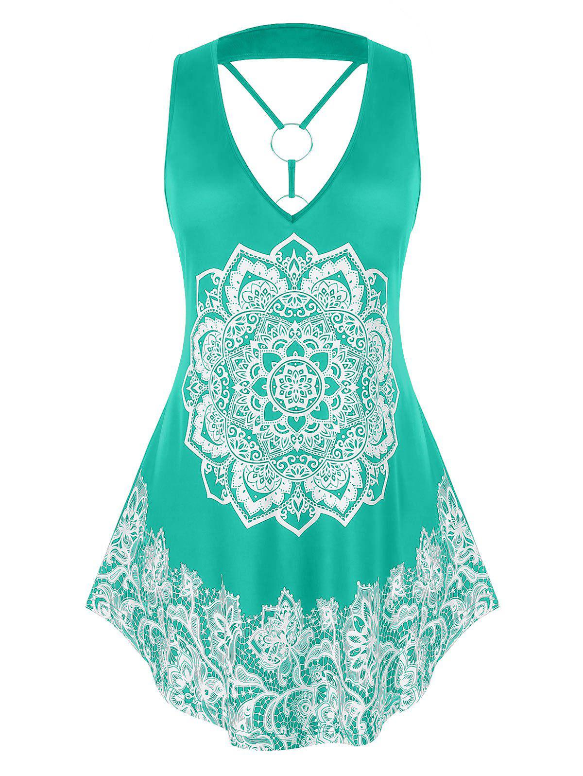 Hot Plus Size O Ring Strappy Tribal Print Tank Top