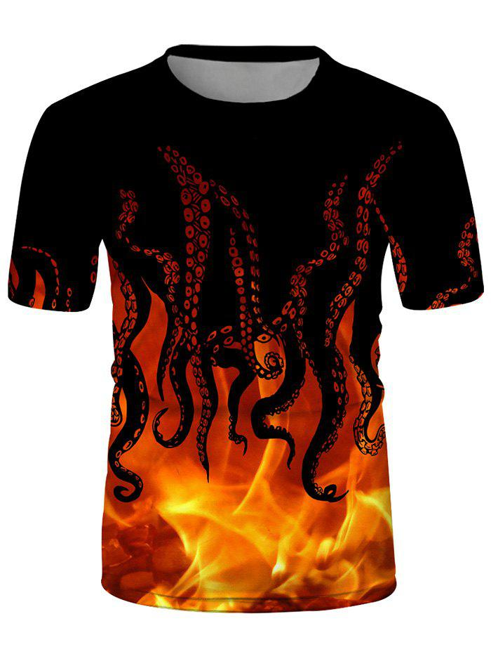 Outfits Fire Octopus Print Crew Neck Casual T Shirt