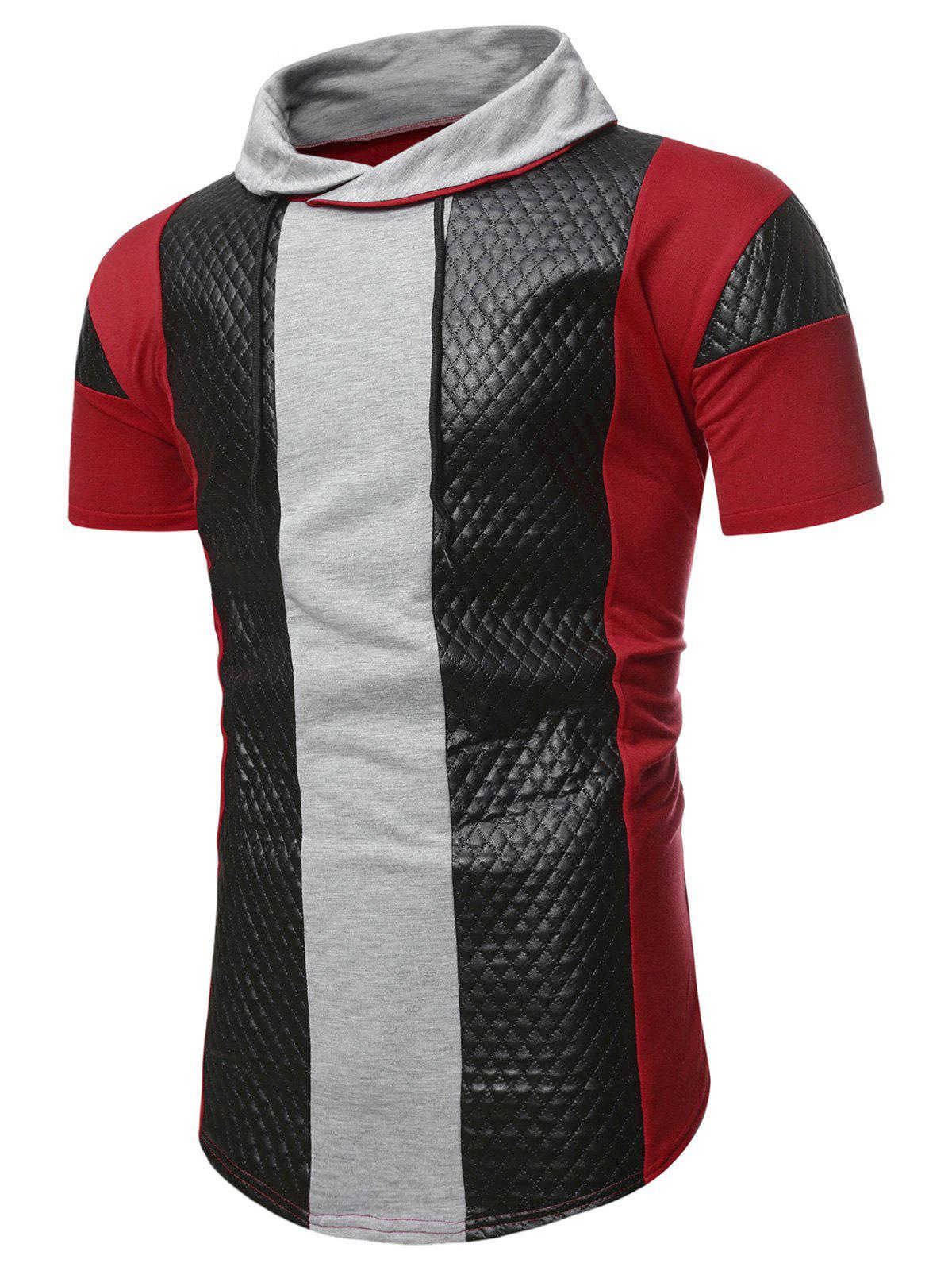 Cheap Colorblock Quilted Shawl Collar Short Sleeve T Shirt