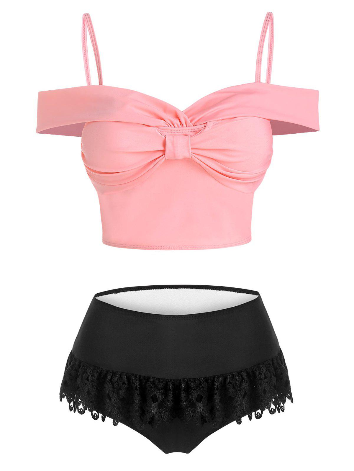 New Lace Insert Bow Detail Padded Two Piece Swimsuit