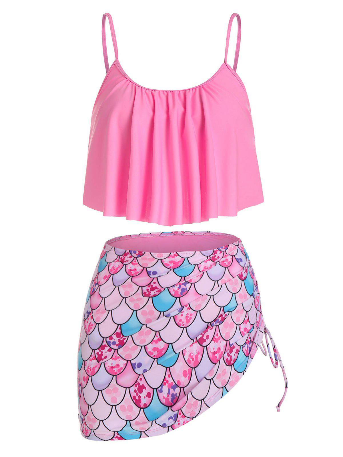Buy Mermaid Print Spaghetti Strap Padded Tankini Set