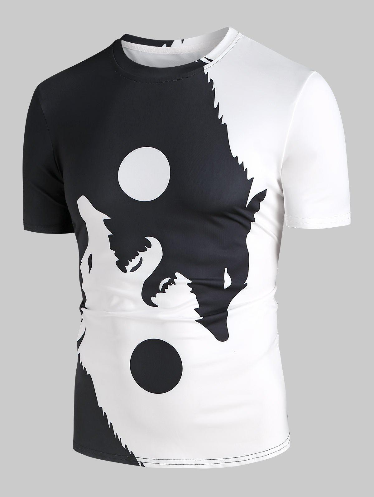 Affordable Ying Yang Wolf Moon Graphic T-shirt