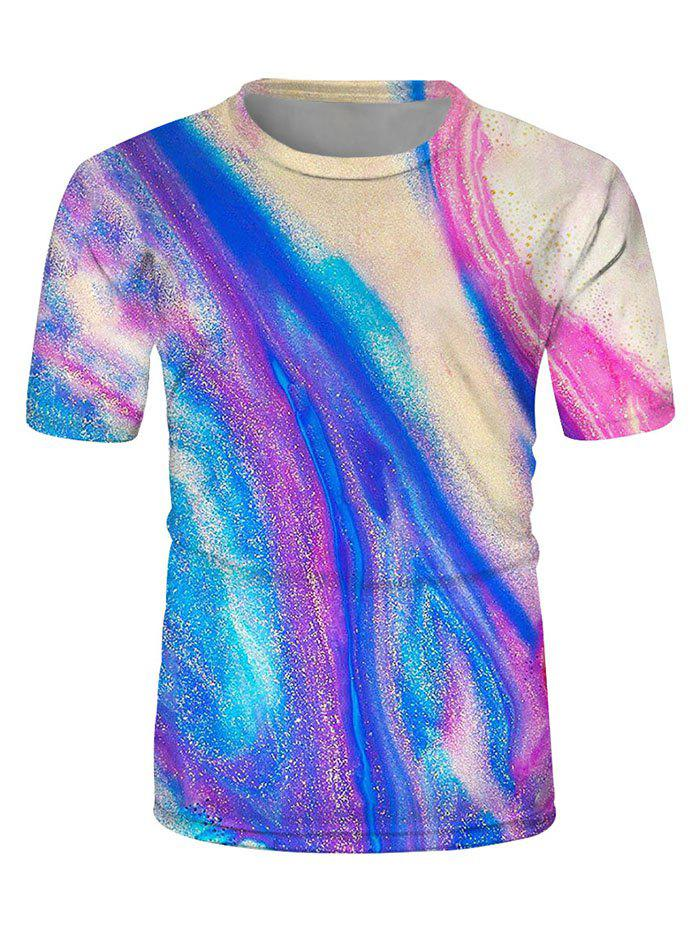 Chic Colorful Drift Sand Print Crew Neck Casual T Shirt