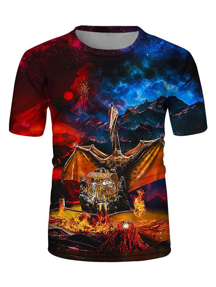 Fashion Wings Of Fire Dragon Print Crew Neck Casual T Shirt