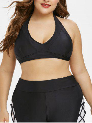 Plus Size Back Tie Halter Swim Top
