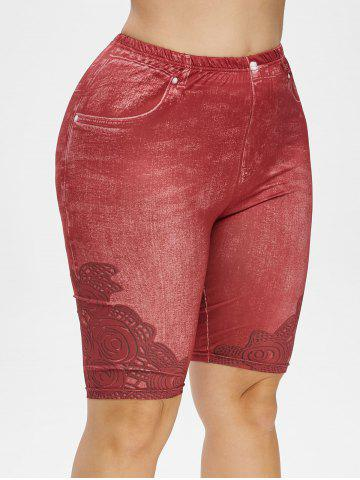 Plus Size 3D Jean Print Short Leggings