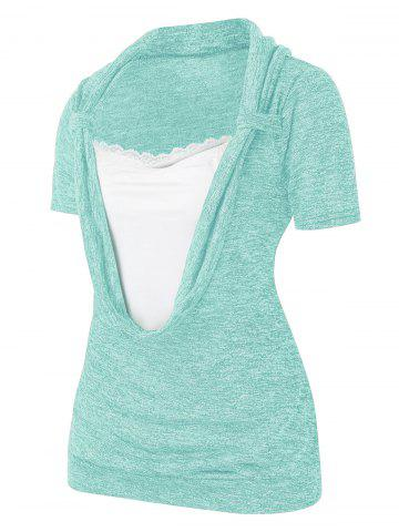Plus Size Cowl Front Marled Lace Embellished T Shirt - LIGHT CYAN - L