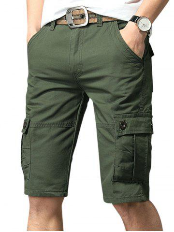 Pure Color Zip Fly Fifth Cargo Shorts