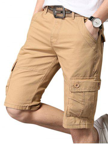 Pure Color Zip Fly Fifth Cargo Shorts - KHAKI - 36