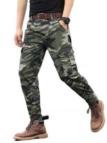 Camouflage Print Zip Fly Cargo Jogger Pants